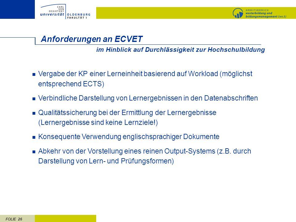Anforderungen an ECVET