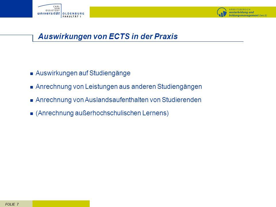 Auswirkungen von ECTS in der Praxis