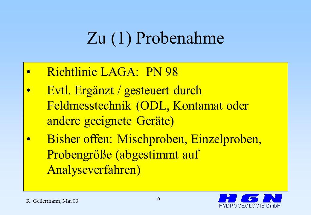 Zu (1) Probenahme Richtlinie LAGA: PN 98