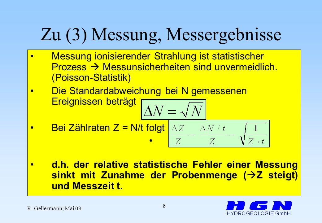Zu (3) Messung, Messergebnisse