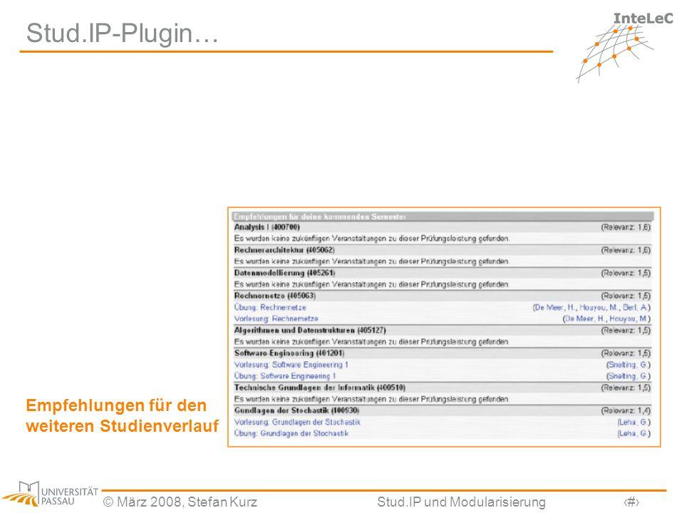 Stud.IP-Plugin… Empfehlungen für den weiteren Studienverlauf