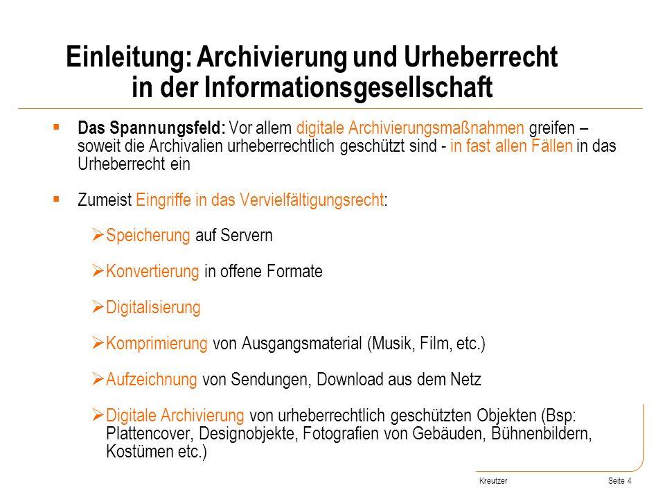 Einleitung: Archivierung und Urheberrecht in der Informationsgesellschaft