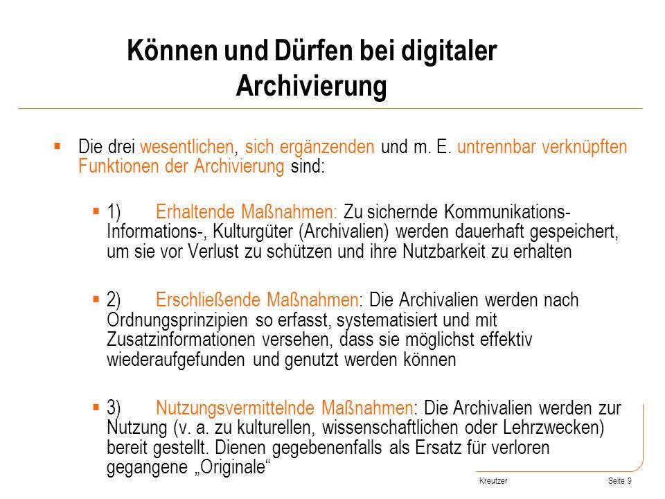 Können und Dürfen bei digitaler Archivierung
