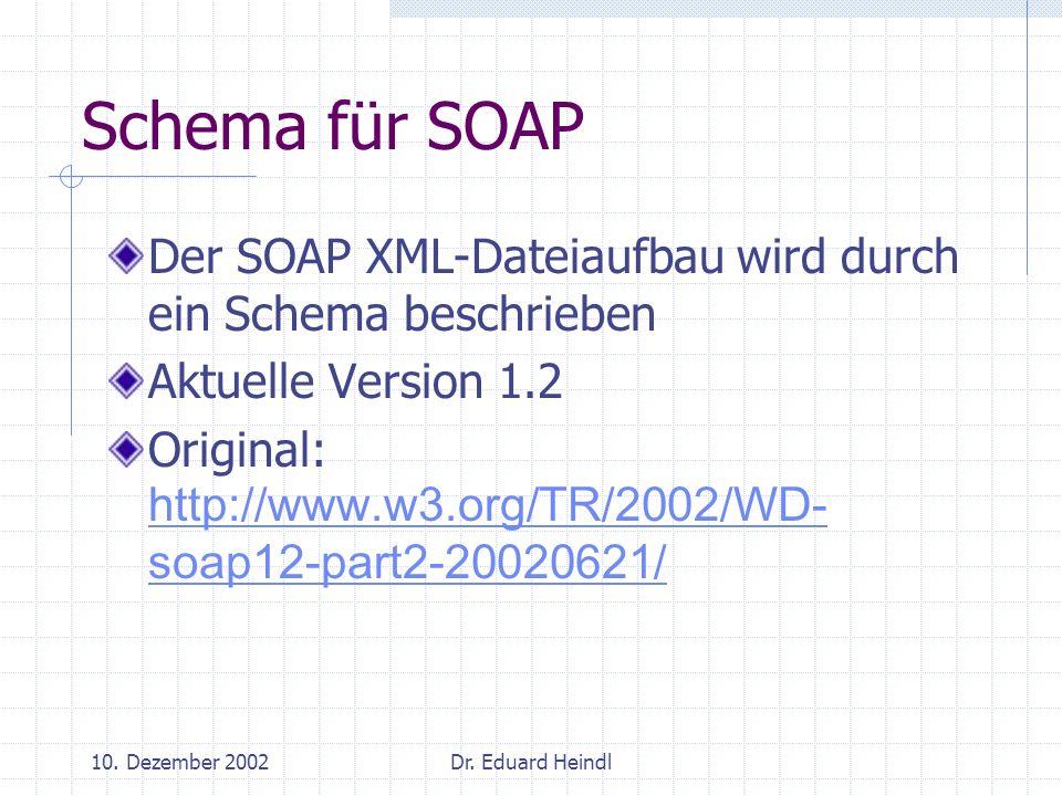 Schema für SOAP Der SOAP XML-Dateiaufbau wird durch ein Schema beschrieben. Aktuelle Version 1.2.