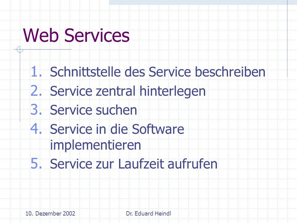 Web Services Schnittstelle des Service beschreiben