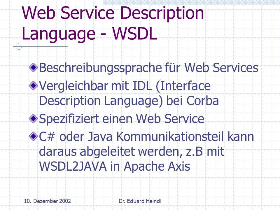 Web Service Description Language - WSDL
