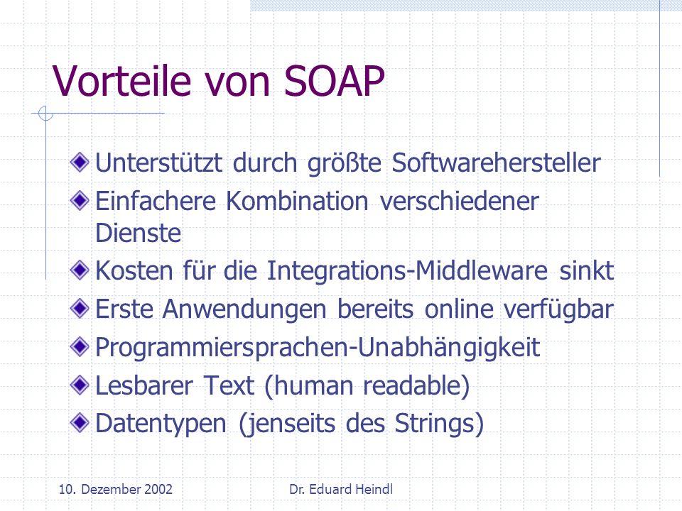 Vorteile von SOAP Unterstützt durch größte Softwarehersteller