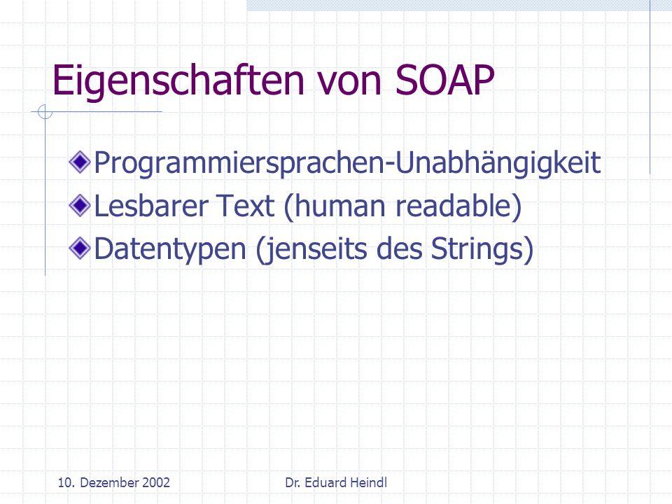 Eigenschaften von SOAP