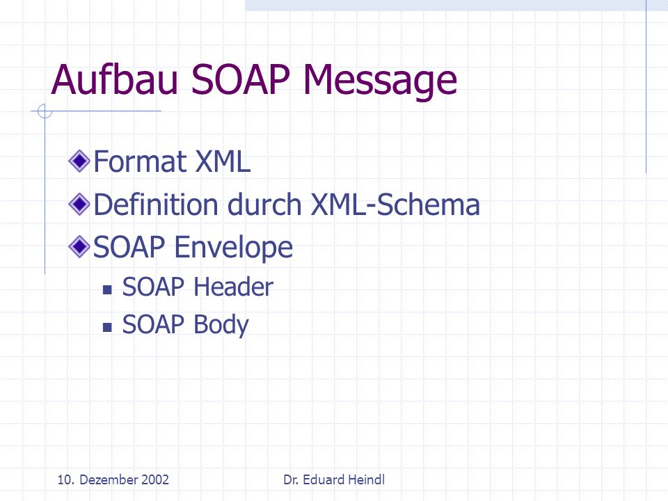Aufbau SOAP Message Format XML Definition durch XML-Schema