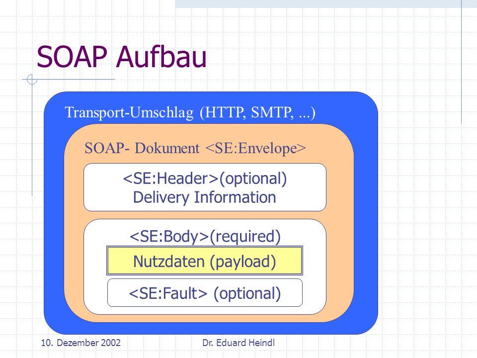 SOAP Aufbau Transport-Umschlag (HTTP, SMTP, ...)