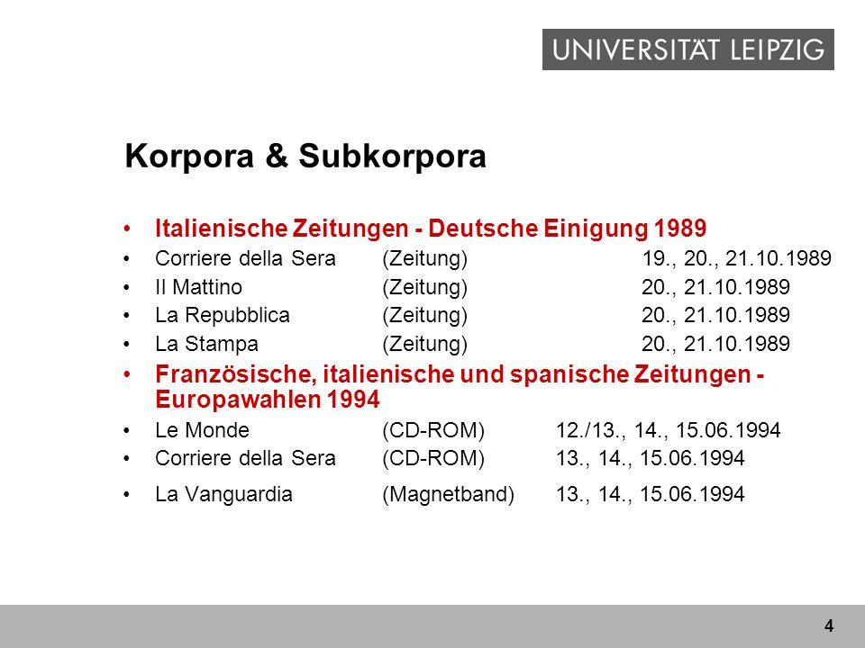 Korpora & Subkorpora Italienische Zeitungen - Deutsche Einigung 1989