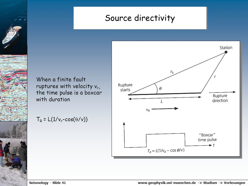 Source directivity When a finite fault ruptures with velocity vr, the time pulse is a boxcar with duration.