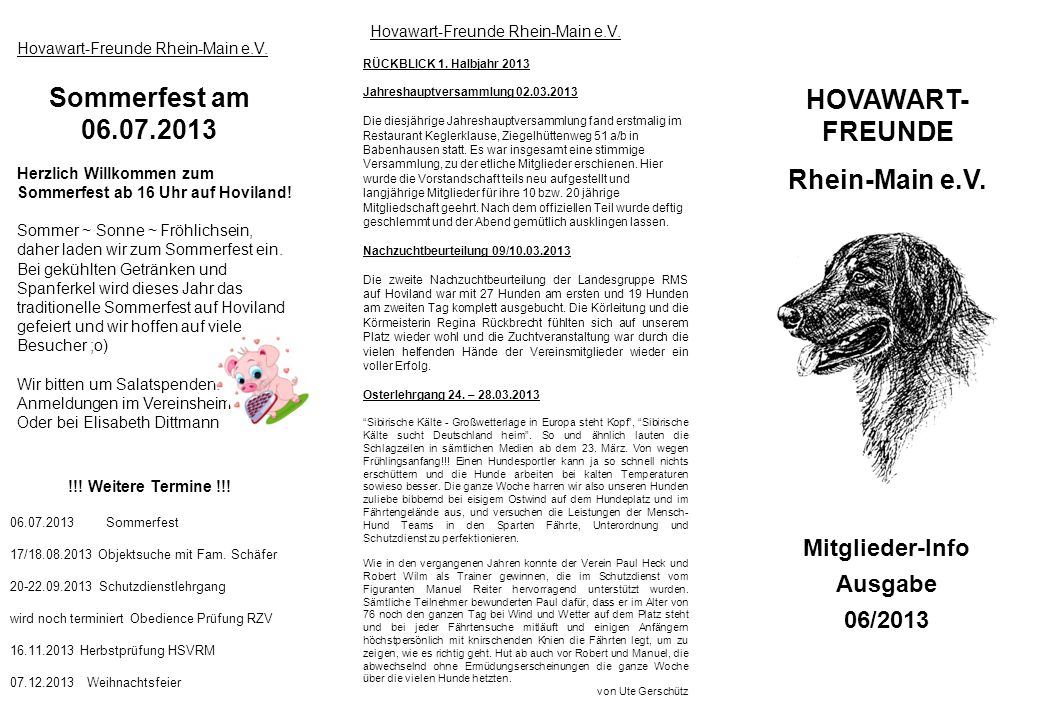 Sommerfest am 06.07.2013 HOVAWART-FREUNDE Rhein-Main e.V.