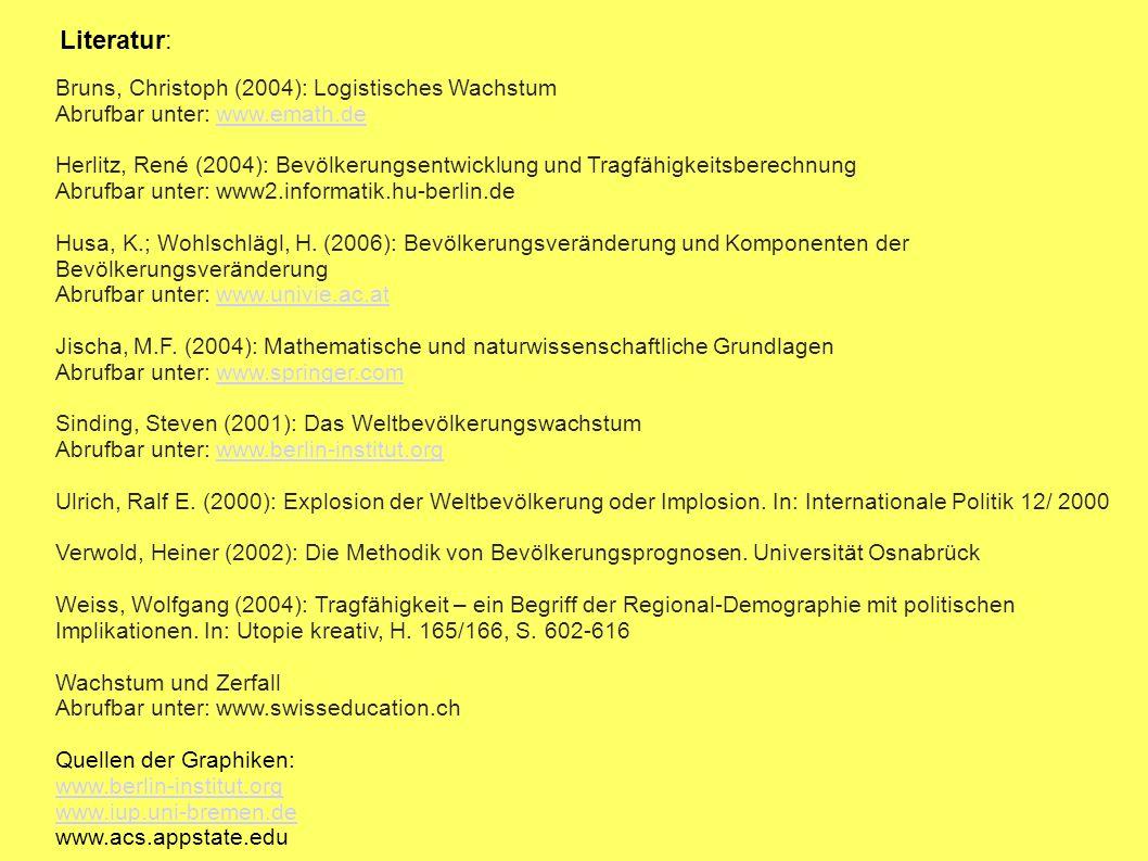 Literatur: Bruns, Christoph (2004): Logistisches Wachstum