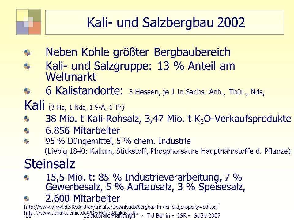 Kali- und Salzbergbau 2002 Kali (3 He, 1 Nds, 1 S-A, 1 Th) Steinsalz