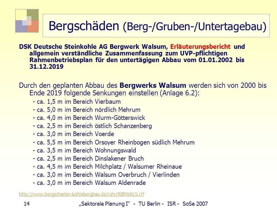 Bergschäden (Berg-/Gruben-/Untertagebau)
