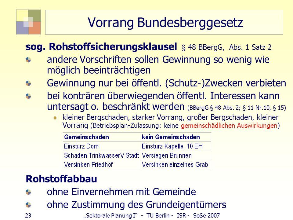 Vorrang Bundesberggesetz
