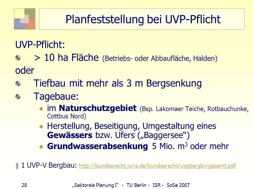 Planfeststellung bei UVP-Pflicht