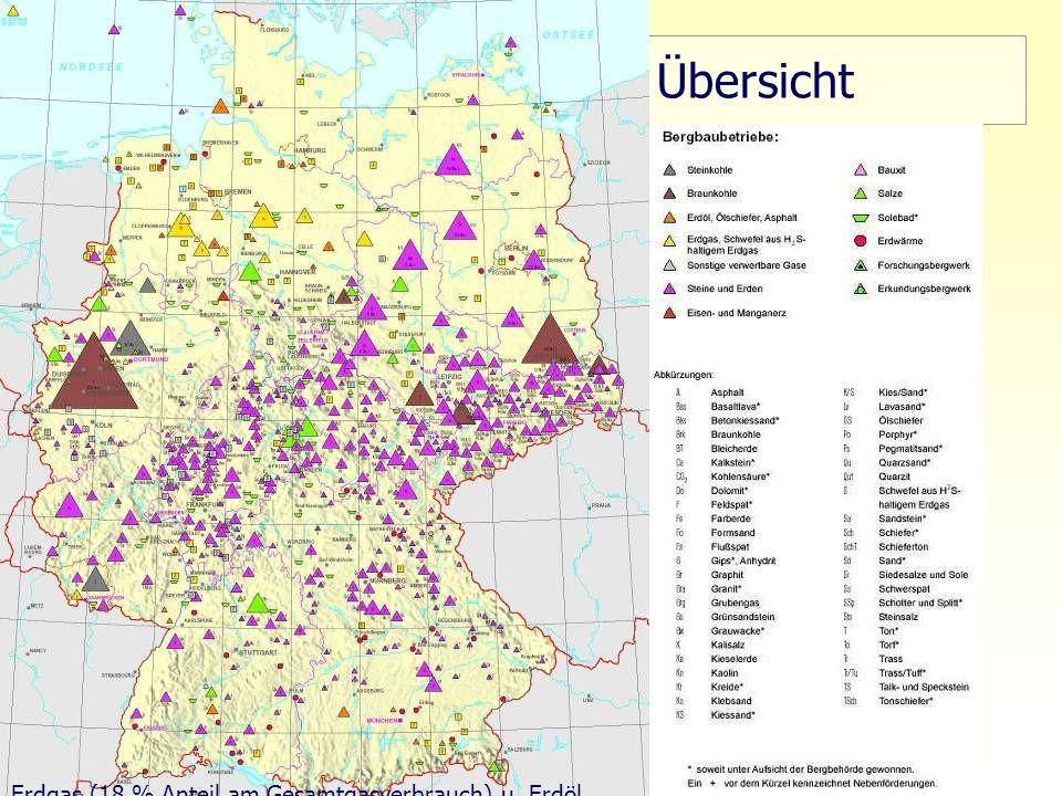 Übersicht Erdgas (18 % Anteil am Gesamtgasverbrauch) u. Erdöl