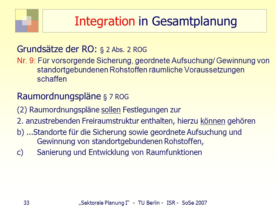 Integration in Gesamtplanung