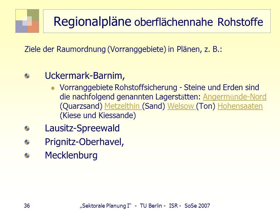 Regionalpläne oberflächennahe Rohstoffe