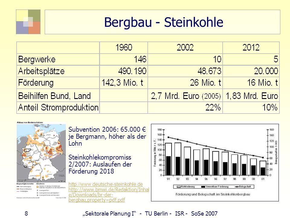 Bergbau - SteinkohleSubvention 2006: 65.000 € je Bergmann, höher als der Lohn. Steinkohlekompromiss 2/2007: Auslaufen der Förderung 2018.