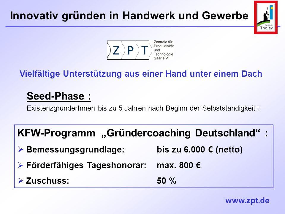 """KFW-Programm """"Gründercoaching Deutschland :"""