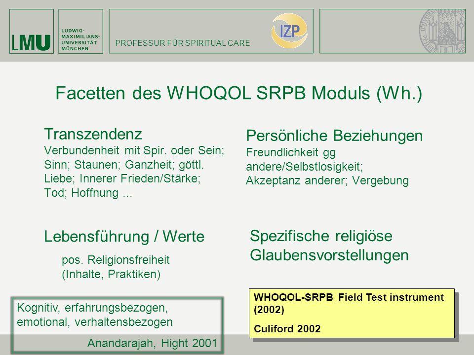 Facetten des WHOQOL SRPB Moduls (Wh.)