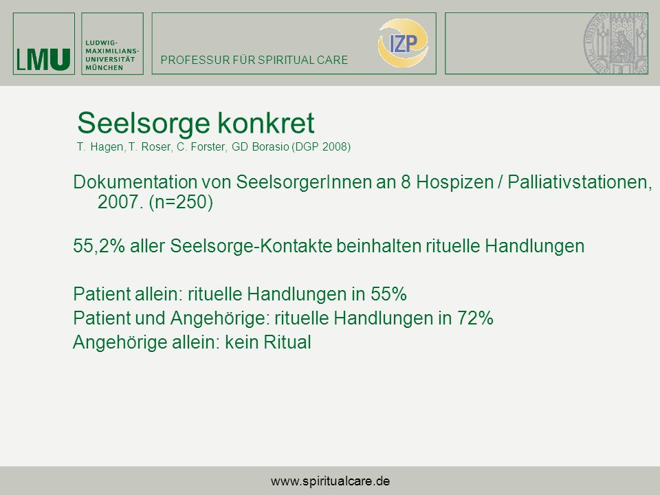 Seelsorge konkret T. Hagen, T. Roser, C. Forster, GD Borasio (DGP 2008)