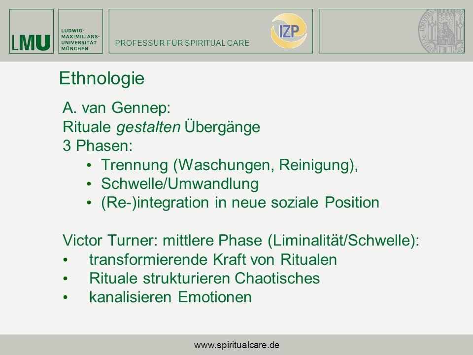 Ethnologie A. van Gennep: Rituale gestalten Übergänge 3 Phasen: