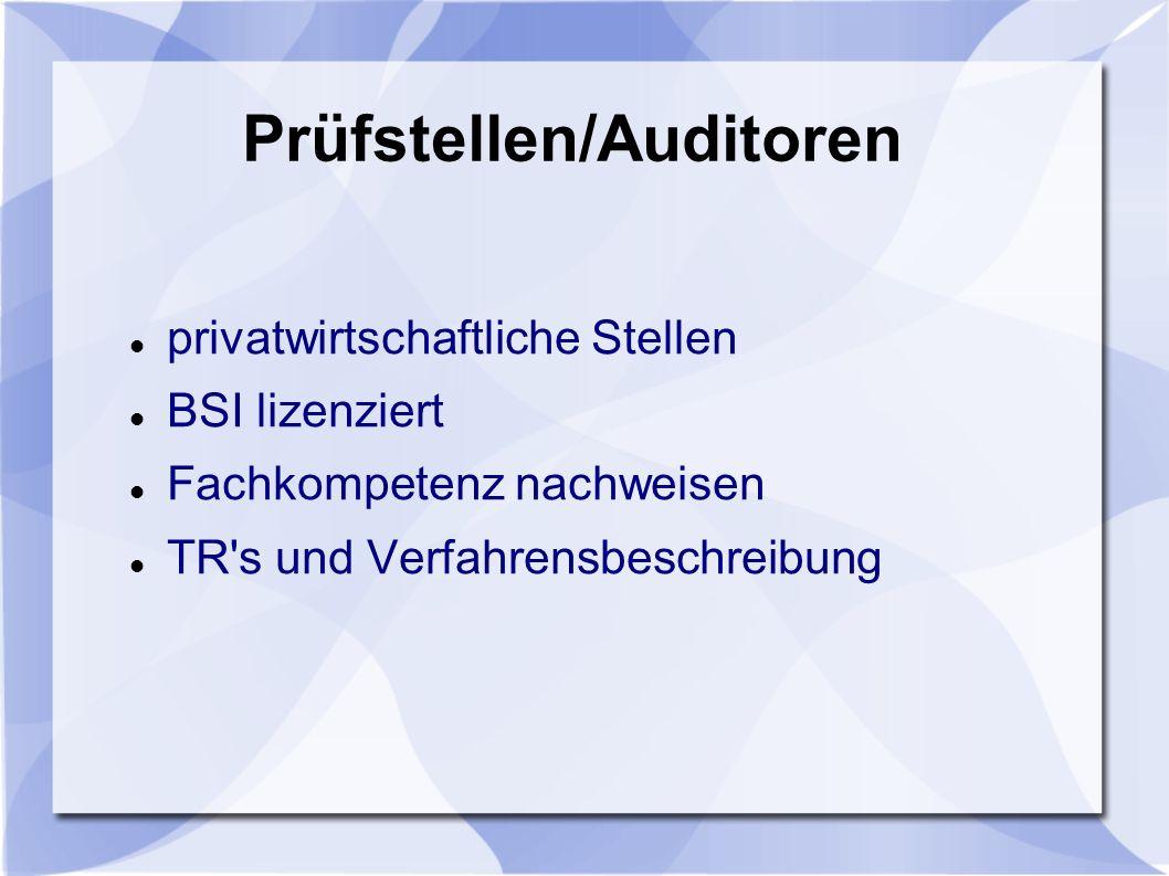 Prüfstellen/Auditoren
