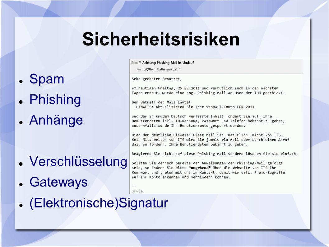Sicherheitsrisiken Spam Phishing Anhänge Verschlüsselung Gateways