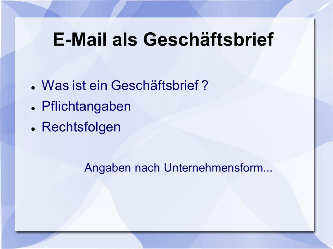 E-Mail als Geschäftsbrief