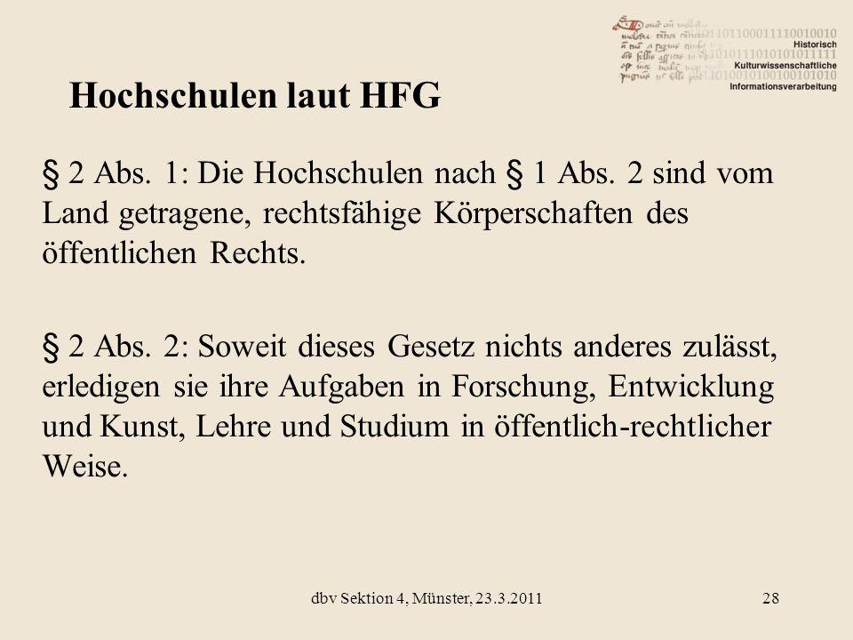 Hochschulen laut HFG