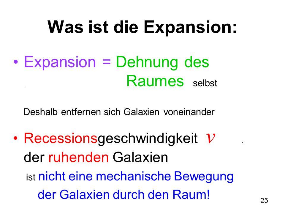 Was ist die Expansion: Expansion = Dehnung des . Raumes selbst