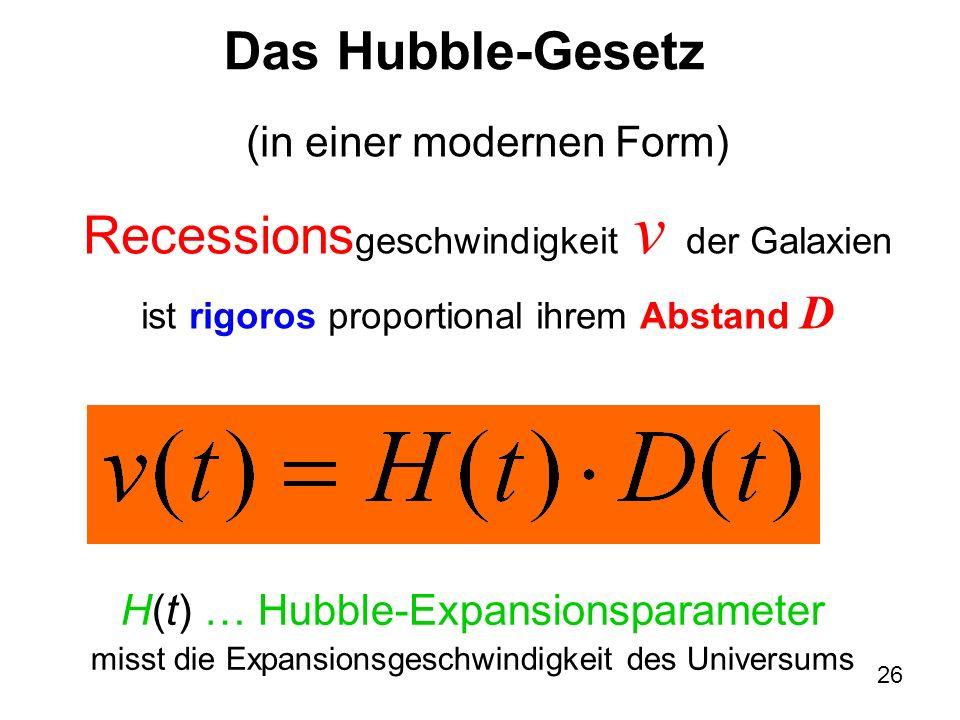 Recessionsgeschwindigkeit v der Galaxien