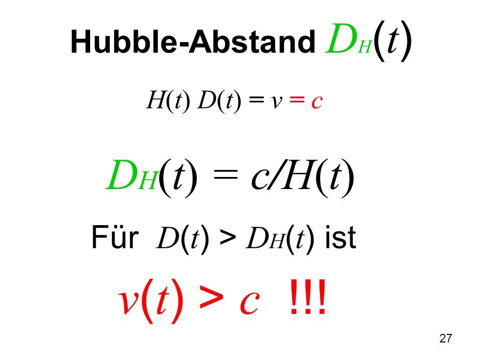 H(t) D(t) = v = c DH(t) = c/H(t)