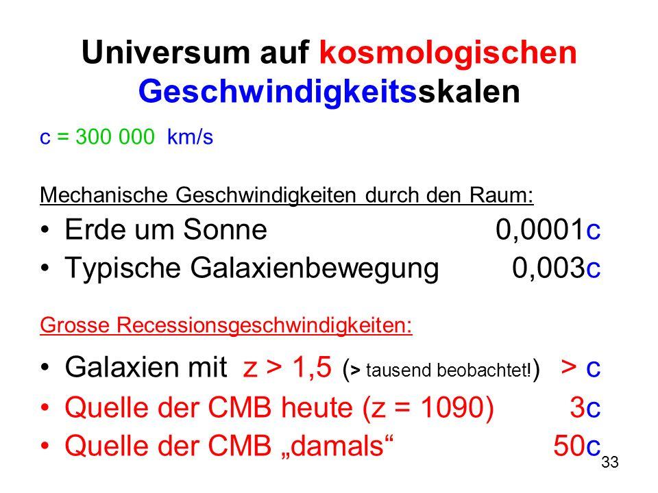 Universum auf kosmologischen Geschwindigkeitsskalen