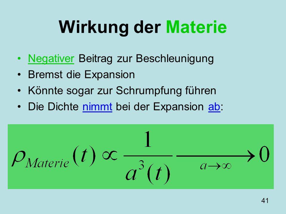 Wirkung der Materie Negativer Beitrag zur Beschleunigung