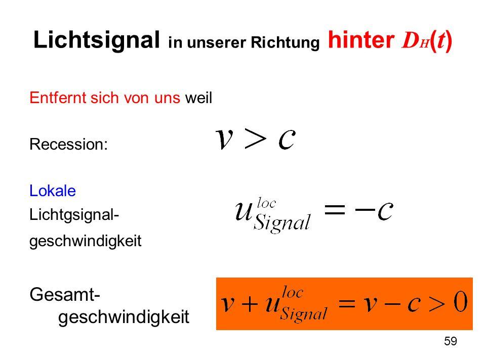 Lichtsignal in unserer Richtung hinter DH(t)