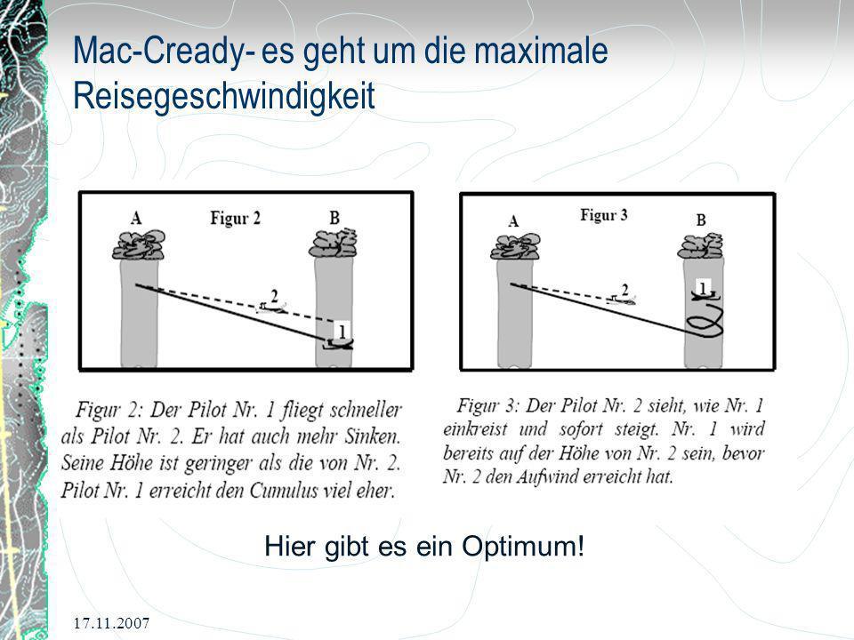 Mac-Cready- es geht um die maximale Reisegeschwindigkeit