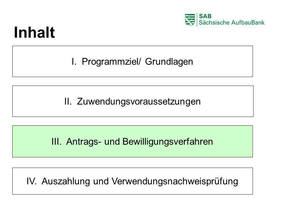 Inhalt I. Programmziel/ Grundlagen II. Zuwendungsvoraussetzungen