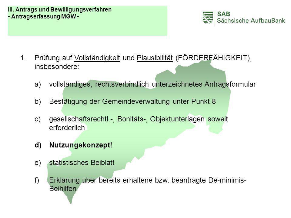 ABCDEF III. Antrags und Bewilligungsverfahren - Antragserfassung MGW -