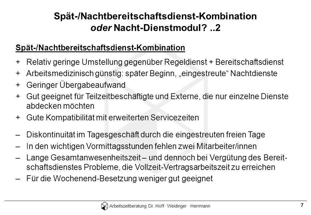 Spät-/Nachtbereitschaftsdienst-Kombination oder Nacht-Dienstmodul ..2