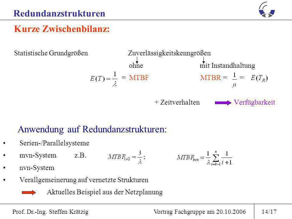 Anwendung auf Redundanzstrukturen: