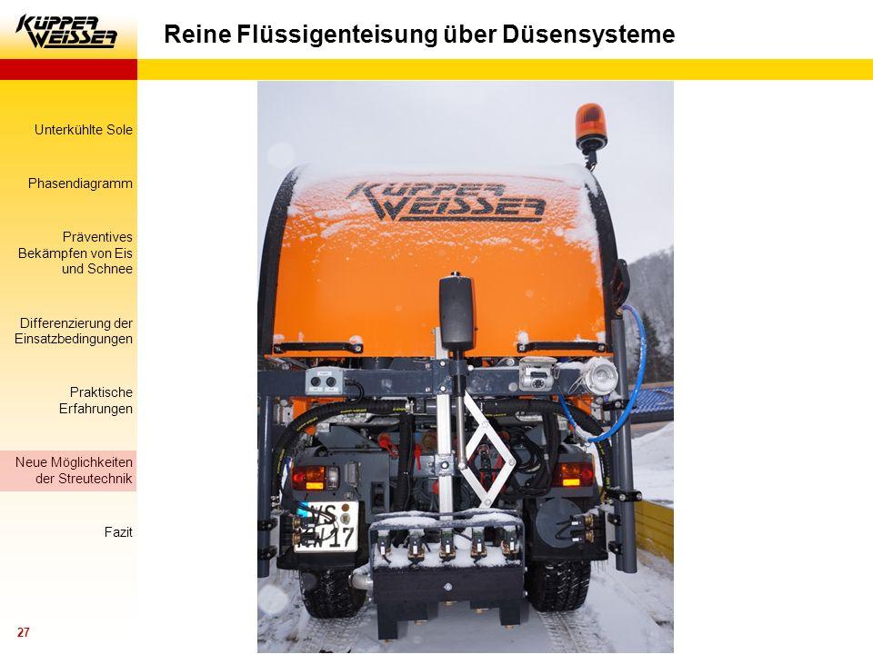 Reine Flüssigenteisung über Düsensysteme