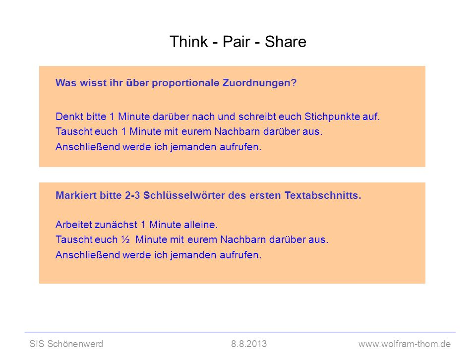 Think - Pair - Share Was wisst ihr über proportionale Zuordnungen