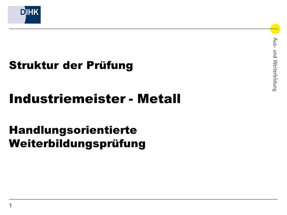 Struktur der Prüfung Industriemeister - Metall