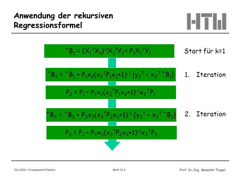 Anwendung der rekursiven Regressionsformel