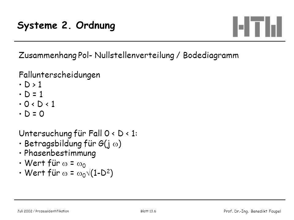 Systeme 2. Ordnung Zusammenhang Pol- Nullstellenverteilung / Bodediagramm. Fallunterscheidungen. D > 1.